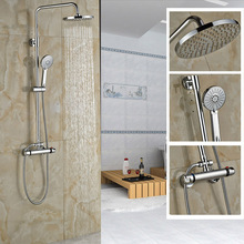 "Wall Mounted Shower Faucet Set Thermostatic Bath Mixer Shower Exposed Valve Chrome 8"" rainfall Showerhead Plastic Handshower"