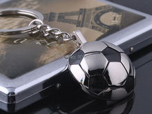 HJ Half Football Sports Keyring Creative Keychain Polished Chrome Classic 3D Pendant Creative Gift Free shipping(China)
