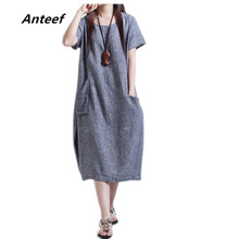 new fashion summer style cotton linen plus size women casual loose long dress vestidos femininos party 2017 dresses