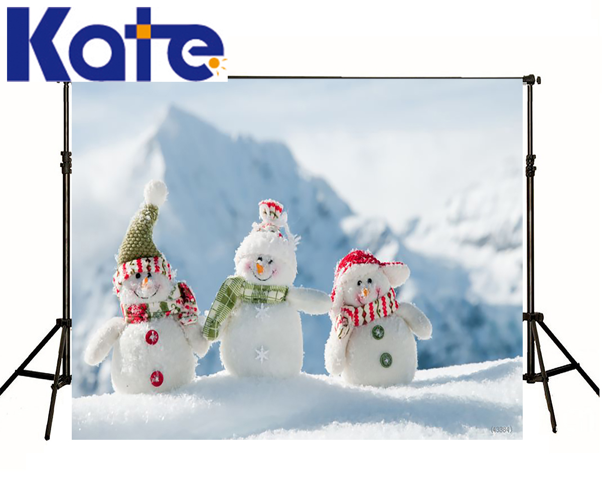 Kate Photography Backdrops Three Small Snow Man Scenery Backdrop Mountain Photocall Backgrounds For Photo Shoot<br>