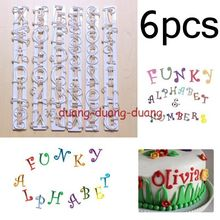 6Pcs/lot Fondant Sugarcraft Tool Alphabet & Number Letter Cake Mould Decorating Cutter Frill Edge Cake Mold