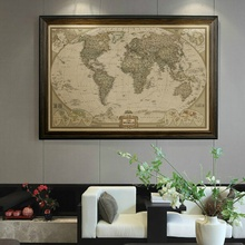 Executive World Push Pin Travel Map with Black Frame and Pins Paintings Home Living Room Decoration