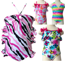 Cute Baby Girl Swimwear One Piece&Two Pieces with Flowers Pattern 3-12Y Girls Swimsuit Kid/Children Swimming Suit