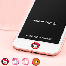 Cute Bear Cat Cartoon Phone Touch ID Home button Sticker Key Covers Film for IPhone 6 6s 7 plus 5 5s Se decoration Accessories
