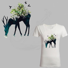 27*20.4cm Plant animal deer Stickers T-shirt Dresses Sweater A-level Washable thermal transfer Printed iron on patch
