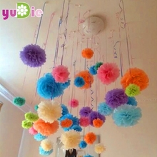 2016 New Cheap 30cm 5pcs/lot Paper PomPom Tissue Flower Balls for home wedding party car decoration mariage crafts Boda Supplies