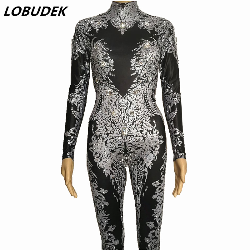 Sexy jumpsuit Gold black crystals bodysuit Female Costumes Bar DJ show Nightclub Party Singer Dancer Jazz performance Clothes