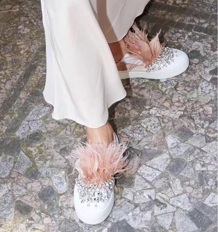 Stylesowner Satin Silk Patckwork Women Casual Shoes Feather Rhinestone Embellished Slip-On Flat Loafers Crystal Fur Ladies Shoes