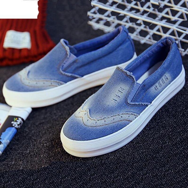 2017 New Spring Summer Denim Canvas Women Flat Shoes Platform A Pedal Lazy Single Shoes For Female Blue Casual Shoes XP35<br><br>Aliexpress