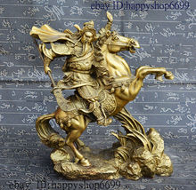 Old Chinese Dynasty Pure Bronze Dragon Warrior GuanGong GuanYu Ride Horse Statue