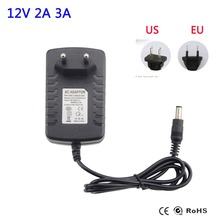 New Arrived US EU Plug Power Supply Adapter AC 110-240V to DC 12V 2A 3A For LED Strips Light Converter Adapter Switching Charger
