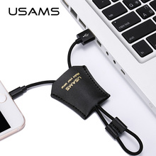USAMS Retro Style Leather Usb Cable 30cm Short 2A Fast Charger Date Cable for iPhone 6 iPhone 6s(China)