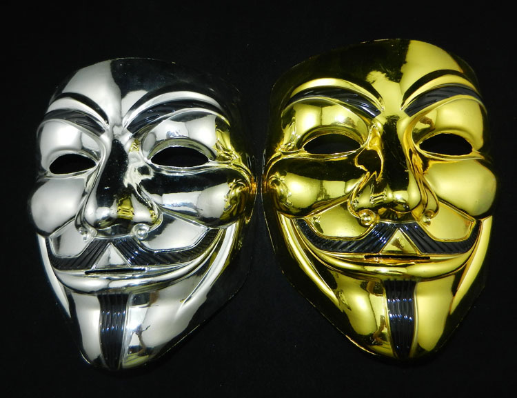 2016 hot selling Fashion High Quality PVC V for Vendetta Guy Fawkes Gold and silver Mask Anonymous Halloween Costume Cosplay