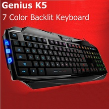 Brand New Genuine Genius K5 7 Color Illuminated Backlight USB Wired ergonomic Gaming Keyboard For Desktop PC