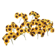 100pcs Chic Mini  Artificial Paper Sunflower Home Party Decorations Props Wedding Card Decor Craft DIY (Yellow)