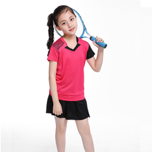 Free print name Children Badminton clothes Girl tracksuit , Sports children table tennis clothes girl ,Tennis clothes suit 5062(China)