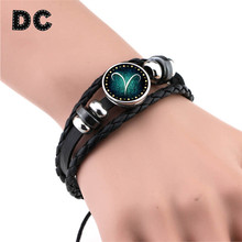2017 New Aries Taurus Gemini Cancer Virgo Scorpio Pisces 12 Zodiac Sign Bracelet Women Men Genuine Braided Leather Bracelets(China)