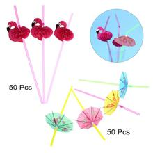 100pcs Flamingo Paper Drinking Straws Wedding Decoration Baby Shower Birthday Celebration Hawaii Carnival Party Supplies(China)