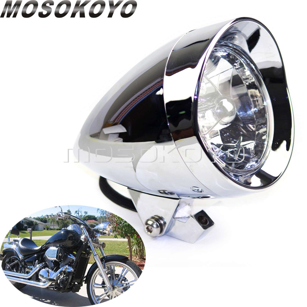 "Chrome 4/"" Headlight Head Light For Harley Cafe Racer Bobber Chopper Motorcycle"
