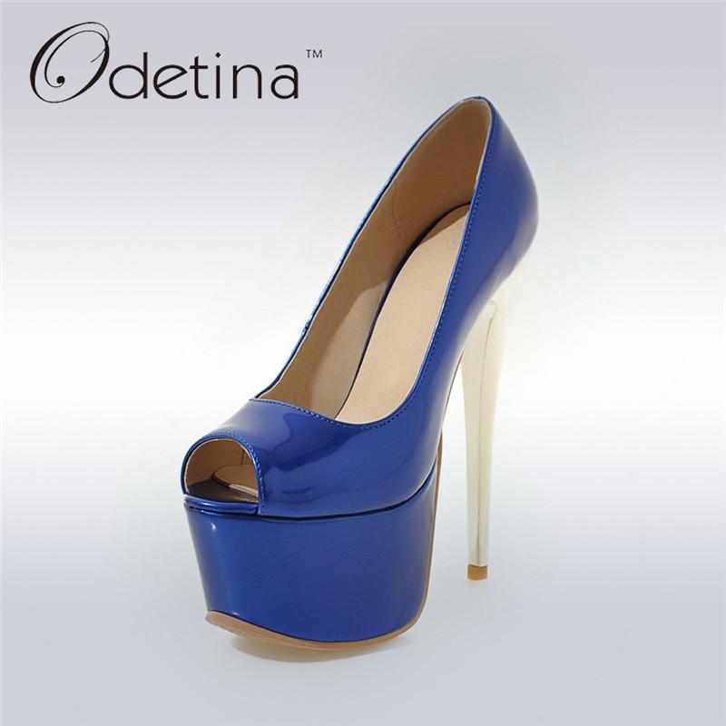 Odetina 2017 Fashion Women Super High Heels Platform Pumps Stilettos Peep Toe Extreme High Heels 16cm Party Shoes Big Size 31-48<br>