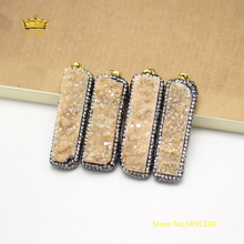 5pcs Champagne Titanium Druzy Agates Pendants,Natural Drusy Pave Rhinestone Long Rectangle Charms Crafts Necklace Supply GH105(China)