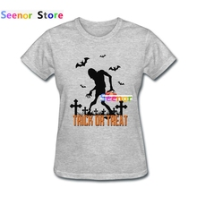 Women Blank T shirt New Coming Wholesale Trick or Treat Clothing Sleeve Happy Halloween T-shirts(China)