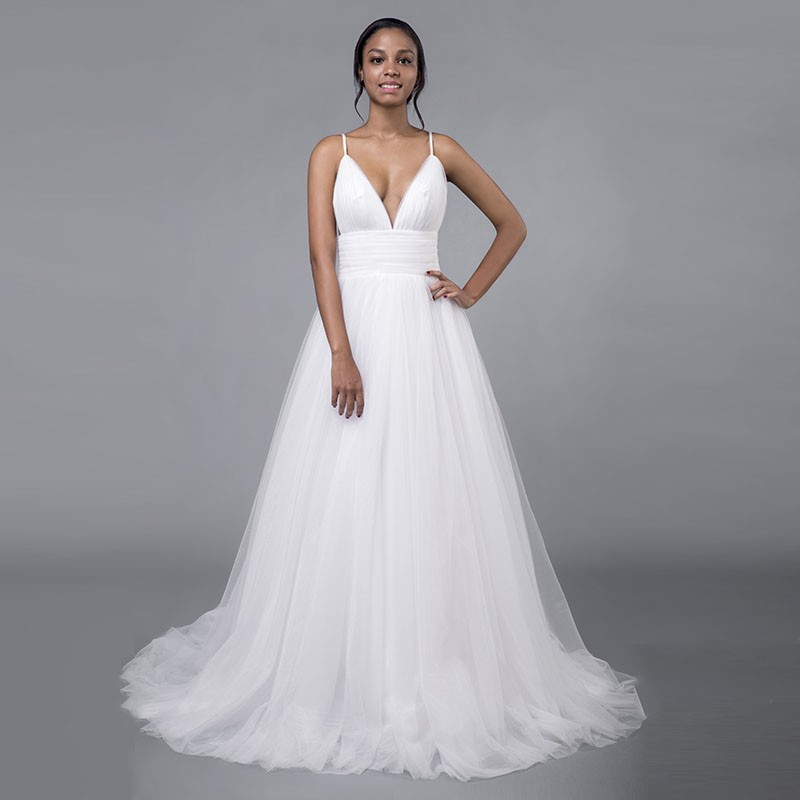 Thinyfull 2019 Cheap Simple A-Line Wedding Dresses Sexy Backless Spaghetti Strap Pleats Beach Tulle Real White Bridal Gown