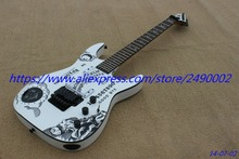 Custom Electric Guitar,bolt on,solid white moon,star decal.black parts, rock tremolo,Wholesale & Retail, Real photo showing