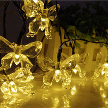 Solar Christmas Lights 4.8m 20 LED Butterfly Solar Fairy String Lights Decorating Waterproof for Outdoor Gardens Yard(China)