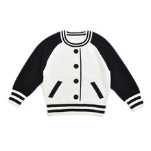 boys girls knitted sweater 2016 kids cardigan autumn long sleeve pullover knit sweater child baseball soft baby wool clothing(China)