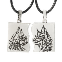 Animal Couple leopard Pendant Necklace Couple Lover Necklace Collier Drop Shipping(China)
