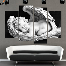 Framed 4 pcs European White and black angels Canvas Painting Naked Kids Pictures For Living Room Home Figure Decor
