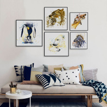Watercolor Giraffe Zebra Horse Lion Animals Family Love A4 Big Art Print Poster Wall Picture Canvas Painting No Frame Home Decor