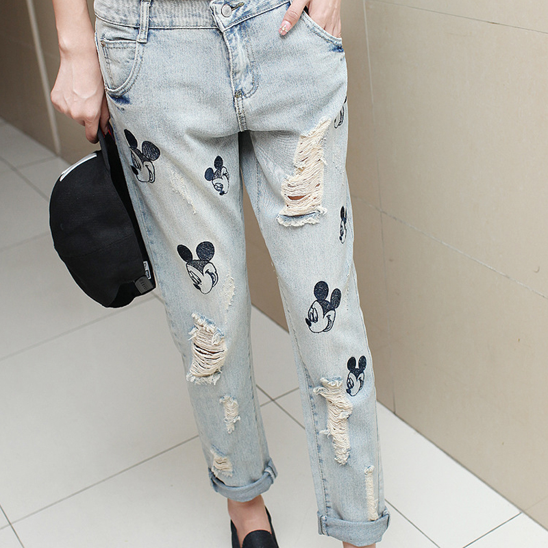 The new 2016 hole jeans beggar washed stone mill design lovely light color pants contracted leisure female trousersÎäåæäà è àêñåññóàðû<br><br>