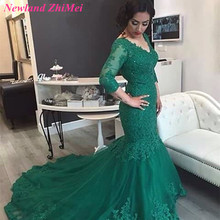 Vintage Green Wedding Dresses Three Quarter Sleeve 2017 New Saudi Arabia Sexy Lace up Back Appliqued Tulle Mermaid Bridal Gown(China)