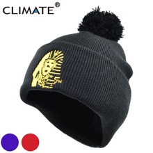 CLIMATE Men Women Winter Warm Pompon Beanies Unique Egyptian Sphinx Black Warm Hat Soft Nice Winter Warm Knitted Hat Beanie Men(China)