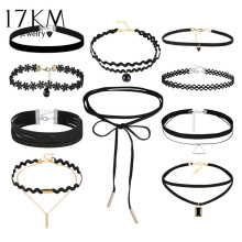 17KM 10 PCS/Set New Gothic Tattoo Leather Choker Necklaces Set for Women Hollow Out Black Lace Necklace Jewelry Collier Chain(China)