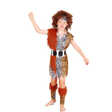 Halloween cosplay make-up dancing clothes African savage Native American Indian costumes children's boy models indigenous(China)