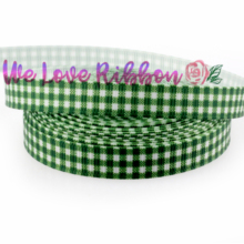 "3/8"" 9mm Green and White Check Printed Grosgrain Ribbon DIY Party Present Packing Webbings handmade hair bands 10yards/roll(China)"