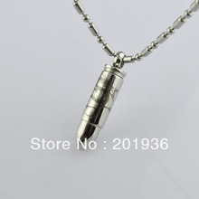 Free shipping,Men's metal necklace,Bullet design pendant,Perfume bottles,Openable,punkstyle,accessories,316L titanium steel,gift(China)