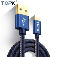 Topk Gold-plate Denim Braided Wire Aluminum Casing Sync Data Phone Charging USB Cable for iPhone 7 6 6s Plus 5 5s iPad Air iOS10