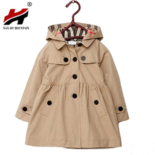 Girls Jacket Jhildren's Clothing Big Kids Spring & Autumn Child Medium-Long 2017 Double Breasted Baby Outerwear Girl Trench Coat