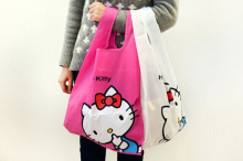 Kawaii 34*38CM Approx. Hello Kitty Women Case Handbag ; Reusable Shopping BAG Foldable Storage Shoulder Satchel Bag Pouch