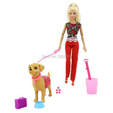 Plastic Dog Pet Sets Dog Food Bones Outside 1:6 Dollhouse Accessories Puppet Toy For Barbie Ken Doll Play House Early Education(China)