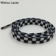 Weiou Printies Checkered Flat Shoe Laces Black And White Flatties For Skater Boot 130cm/51'' Silk Screen Grid Printing Shoelaces