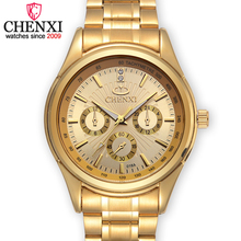 CHENXI Brands Top Luxury Gold Quartz Men Watch Stainless Steel Waterproof Male Wristwatch Famous Fashion Gift Clock Man Watches