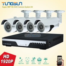 Super New 3MP HD 4 Channel 1920P Surveillance Camera Home Metal Bullet Waterproof Outdoor 4CH DVR Security Camera System kit