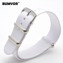 Vintage Retro Ladies Women Nato 18 mm Army White Nylon Military Fabric Woven Watch watchband Strap Band Buckle belt 18mm(China)