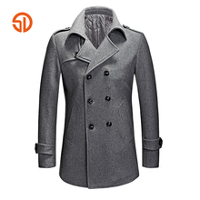 Fashion Pea Coat Men 2018 Spring Autumn Double Breasted Casual Long Woolen Coats Plus Size XXXL Mens Overcoat Male M-3XL Peacoat(China)