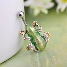 Cute Green Crystal Frog Piercings Gold-color Belly Button Rings For Swimming Girls Holiday Bijoux Fashion Sexy Body Jewelry(China)